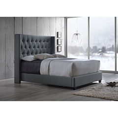 Baxton Studio Katherine Wing Back Upholstered Bed