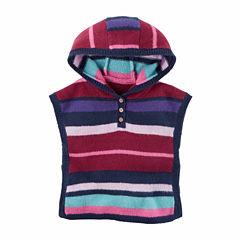 Carter's Hooded Neck Stripe Poncho - Baby Girls