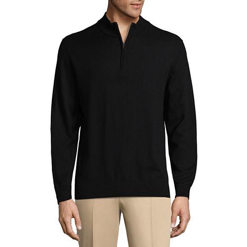 Claiborne Quarter Zip Mock Neck Long Sleeve Pullover Sweater