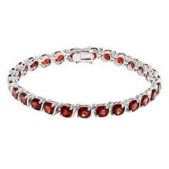 Womens Red Garnet Sterling Silver Tennis Bracelet