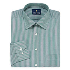 Stafford Travel Easy-Care Broadcloth Long Sleeve Stripe Dress Shirt