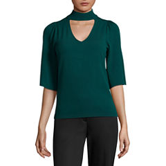Worthington Short Sleeve V Neck Pullover Sweater