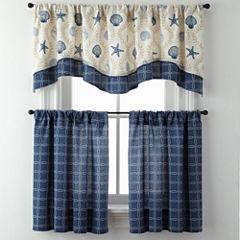 Sea Scroll Lattice or Rope Lattice Rod-Pocket Kitchen Curtains