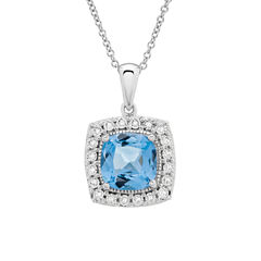Diamond Accent Blue Topaz Cushion Sterling Silver Pendant