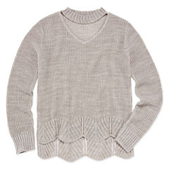 Say What None Long Sleeve Gigi Neck Sweater - Girls' 7-16