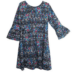 City Streets 3/4 Sleeve Bell Sleeve Skater Dress - Big Kid Girls Plus