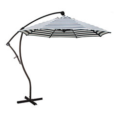 California Umbrella 9' Bayside Series Stripe Olefin Cantilever Patio Umbrella With Bronze Aluminum Pole Aluminum Ribs 360 Rotation Tilt Crank Lift