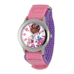 Disney Doc McStuffins Kids Time Teacher Crystal-Accent Pink and Purple Nylon Strap Watch