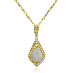 Lab-Created Opal 14K Gold Over Silver Pendant Necklace