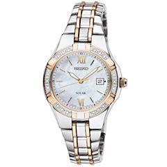 Seiko® Womens Two-Tone Diamond-Accent Solar Watch SUT068