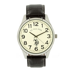 U.S. Polo Assn.® Mens Brown Leather Strap Watch