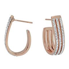 Sparkle Allure Clear Brass Hoop Earrings