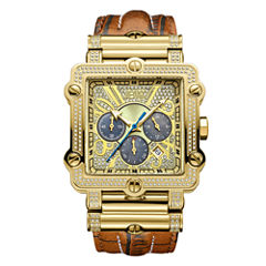 JBW Phantom Mens 2⅜ CT. T.W Diamond Square Brown Leather Strap Watch JB-6215-238-A