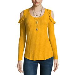 Self Esteem Long Sleeve Round Neck Knit Blouse-Juniors
