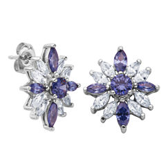 DiamonArt® Sterling Silver Tanzanite & White Cubic Zirconia Flower Cluster Earrings