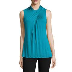 Worthington SleevelessTwist Neck Knit Diamond Blouse-Talls