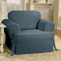 SURE FIT® Cotton Duck T-Cushion Chair Slipcover