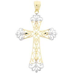 10K Two-Tone Gold Cross Pendant