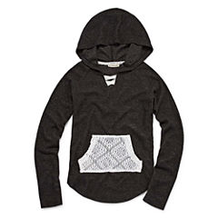 One Step Up Pullover Hoodie with Crochet Pocket- Girls' 7-16