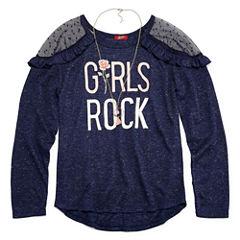Arizona LS Illusion Cold Shoulder Top w/ Necklace - Girls' 7-16 & Plus