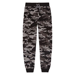 Gray Camo Microfleece Jogger Sleep Pant - Boys 4-20