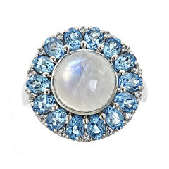 LIMITED QUANTITIES Genuine Blue Moonstone and Swiss Blue Topaz Ring