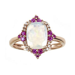 LIMITED QUANTITIES  Genuine Australian Opal and Lead Glass-Filled Hot Pink Ruby Ring