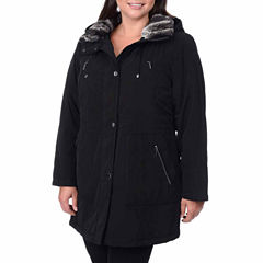 Fleet Street Faux-Silk Anorak with Faux-Fur Trim Collar - Plus