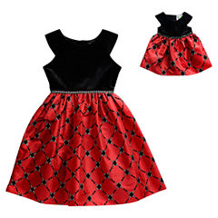 Dollie And Me Short Sleeve Cap Sleeve Party Dress - Big Kid Girls