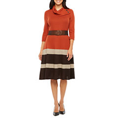 Robbie Bee 3/4 Sleeve Fit & Flare Dress