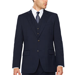 Stafford® Travel Wool Blend Stretch Navy Pinstripe Jacket - Classic Fit