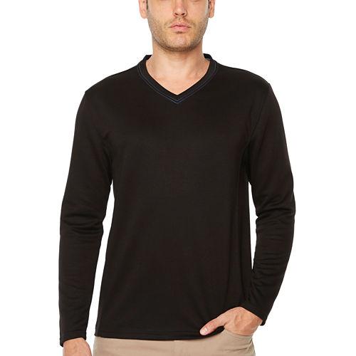 Society Of Threads Double Face V-Neck Pullover Long Sleeve V Neck T-Shirt