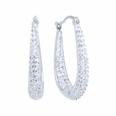 Sparkle Allure Silver Over Brass Hoop Earrings