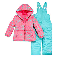 Pink Platinum Heavyweight Hearts Snow Suit-Preschool Girls