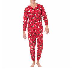Onesie Fleece One Piece Pajama Red Holiday Print- Men's