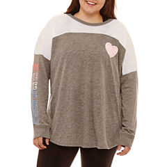Flirtitude Long Sleeve Graphic T-Shirt- Juniors Plus