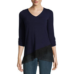 Alyx 3/4 Sleeve V Neck T-Shirt-Womens
