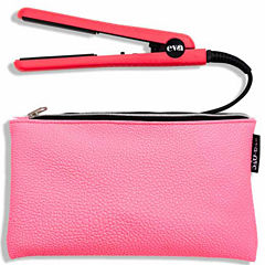 Eva Nyc Mini Heathly Heat Ceramic Styling Iron - Hot Pink 1/2
