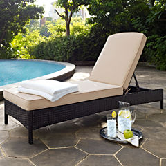 Palm Harbor Wicker Chaise Patio Lounge Chair With Cushions