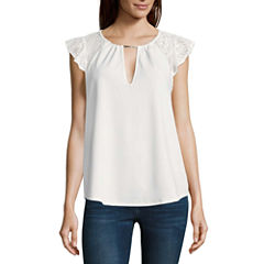 Heart N Soul Short Sleeve Round Neck Crepe Blouse-Juniors