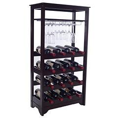 16-Bottle Wine Cabinet with Stemware Storage