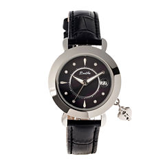 Bertha Womens Kaylee Mother-Of-Pearl Black Leather-Band Watch With Datebthbr5401