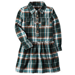 Carter's Long Sleeve Plaid A-Line Dress - Toddler Girls