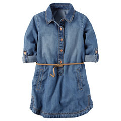 Carter's Long Sleeve Plaid A-Line Dress - Preschool Girls