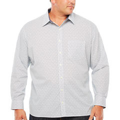 Van Heusen Long Sleeve Never Tuck Button-Front Shirt-Big and Tall
