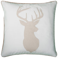Rizzy Home Deer Head Square Throw Pillow