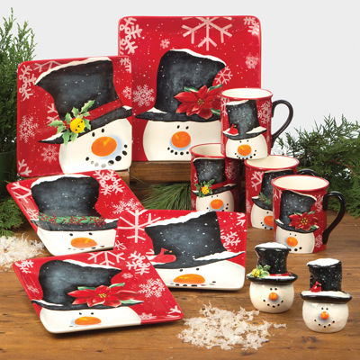 certified top hat snowman dinnerware collection