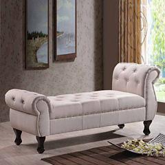 Baxton Studio Ipswich Upholstered Linen Bench