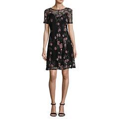 Worthington Short Sleeve Embellished Floral Fit & Flare Dress