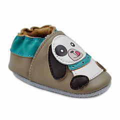 Soft Sole Leather Crib Bootie Baby Shoes - Playful Puppy